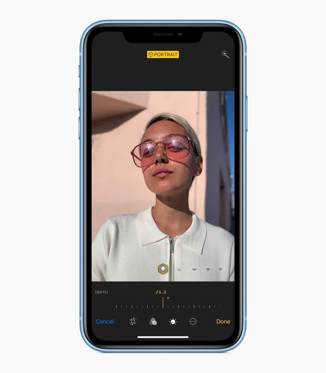 Selfie com o iPhone Xr azul