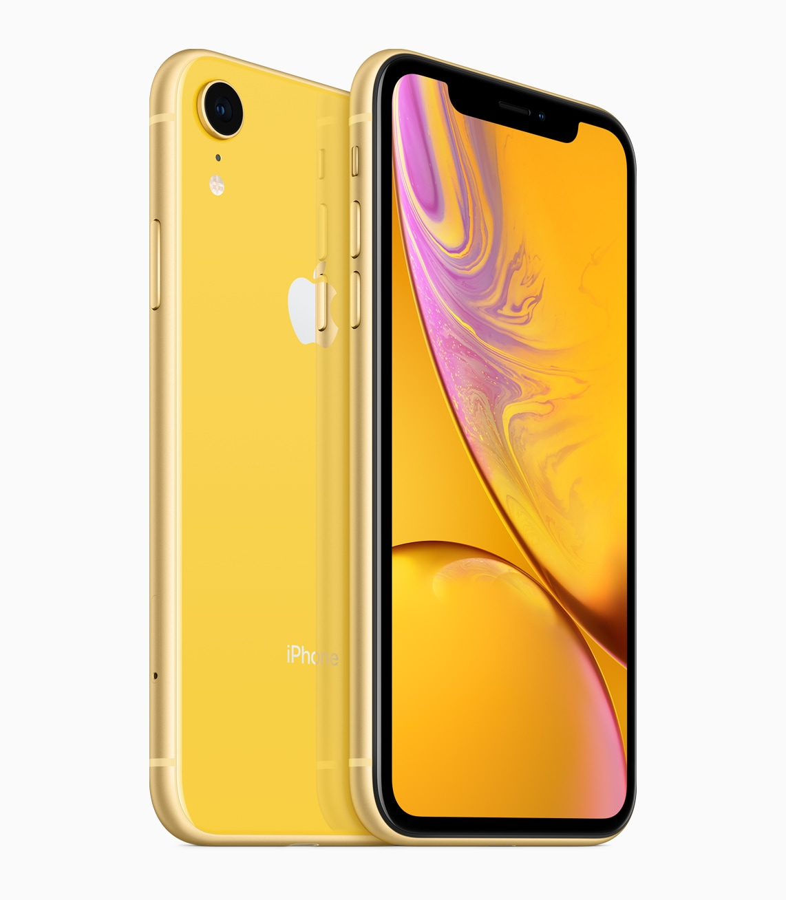 iPhone Xr amarelo de frente e de trás