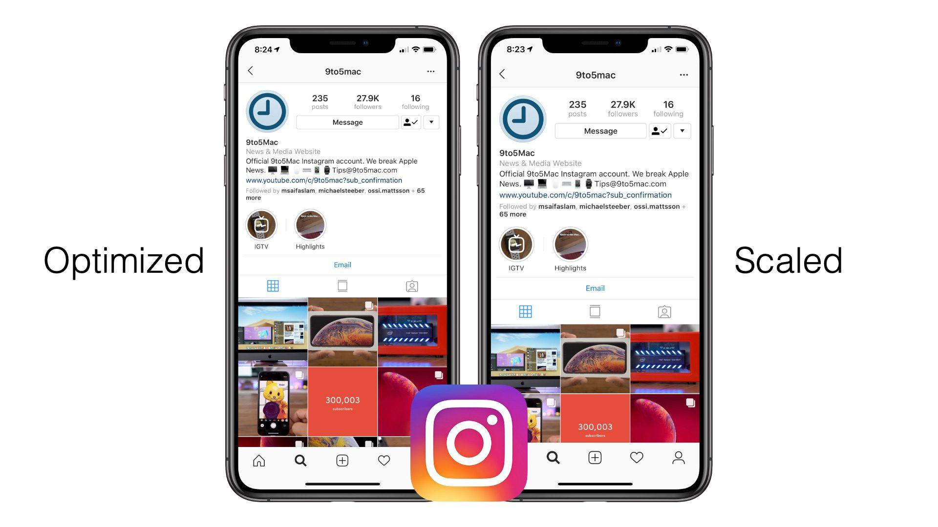 Comparação entre versões otimizada e ampliada do Instagram no iPhone XS Max