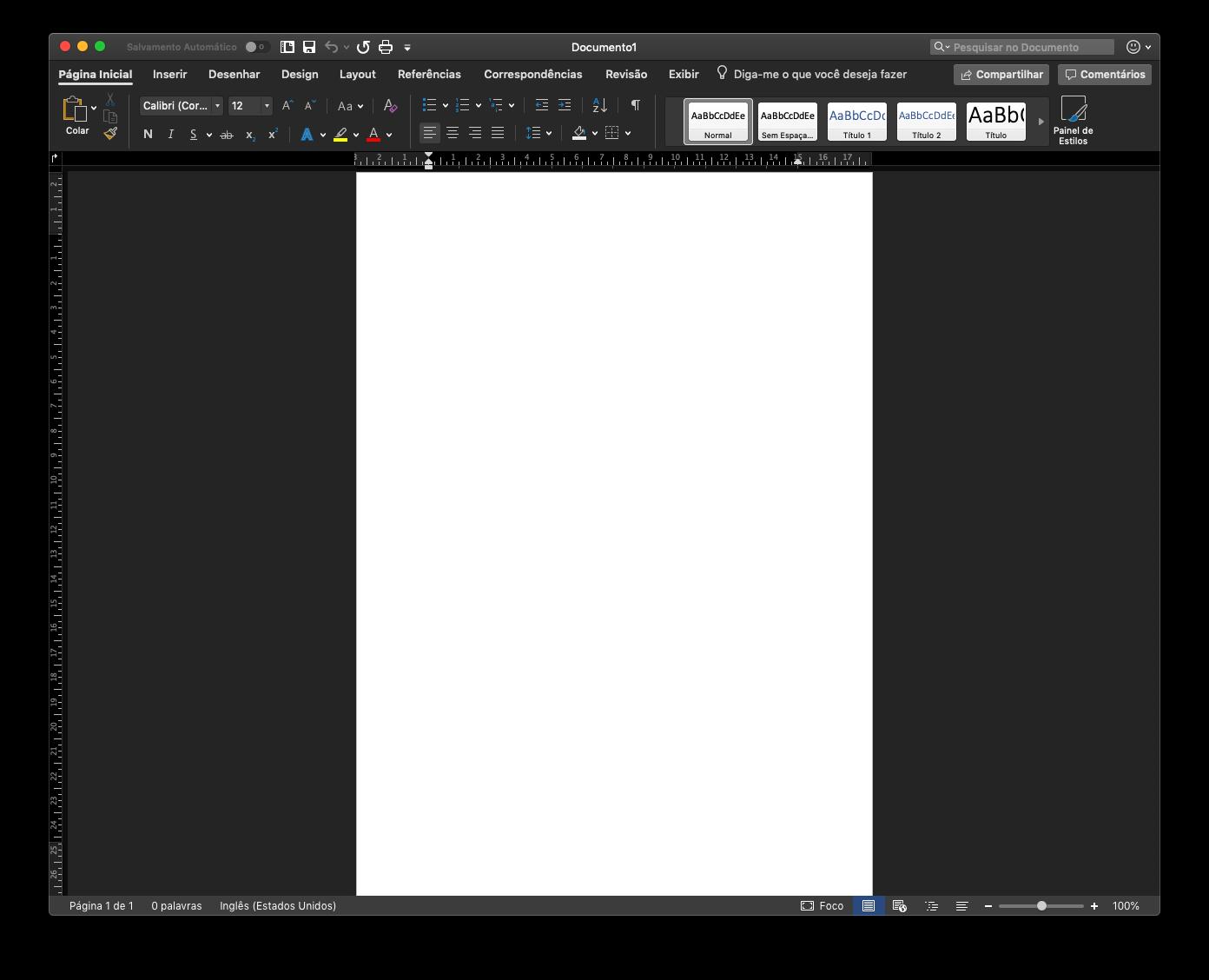 Microsoft Word em Modo Escuro no macOS Mojave