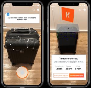 Medindo uma mala no app KAYAK