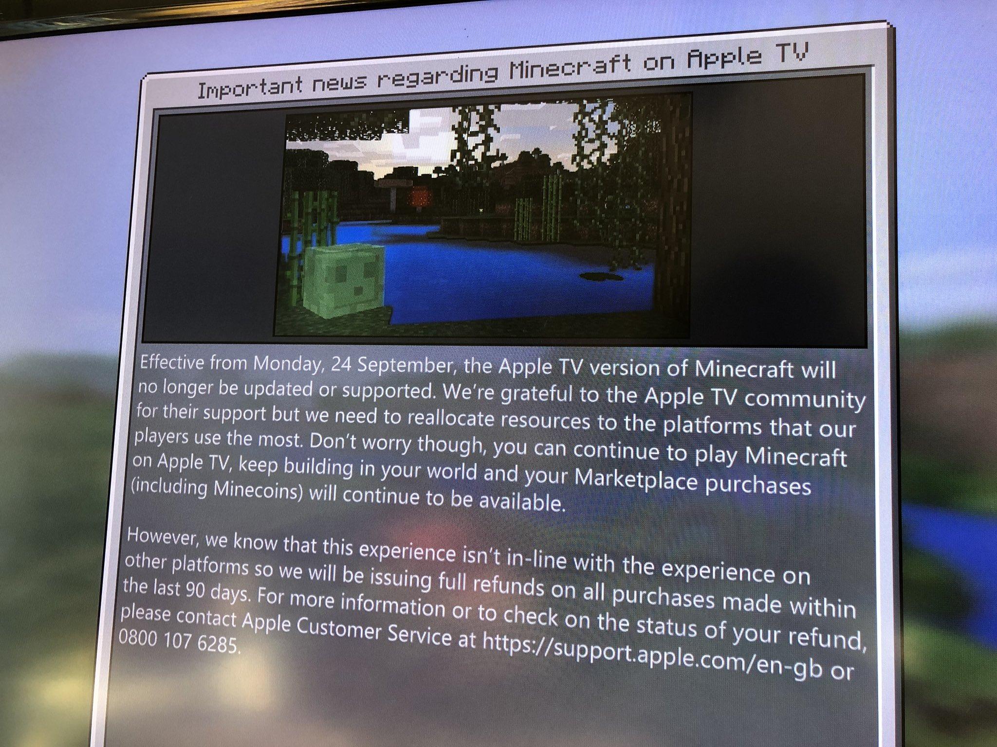 Anúncio Minecraft para Apple TV