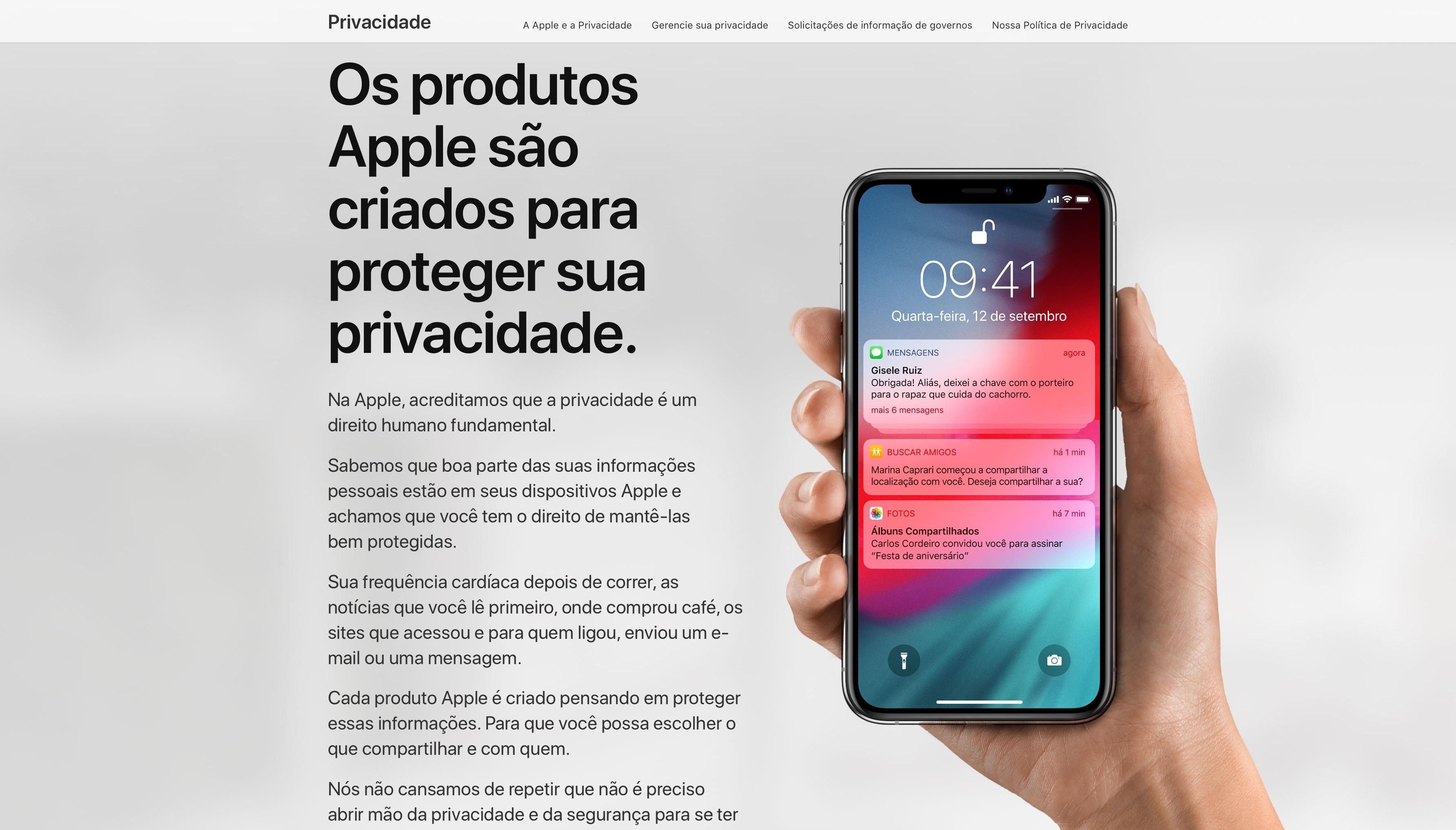 Nova página de privacidade da Apple