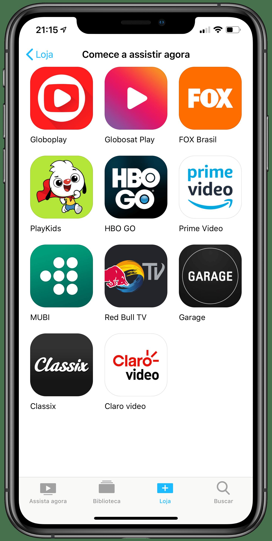 Globosat Play no app TV em um iPhone XS Max