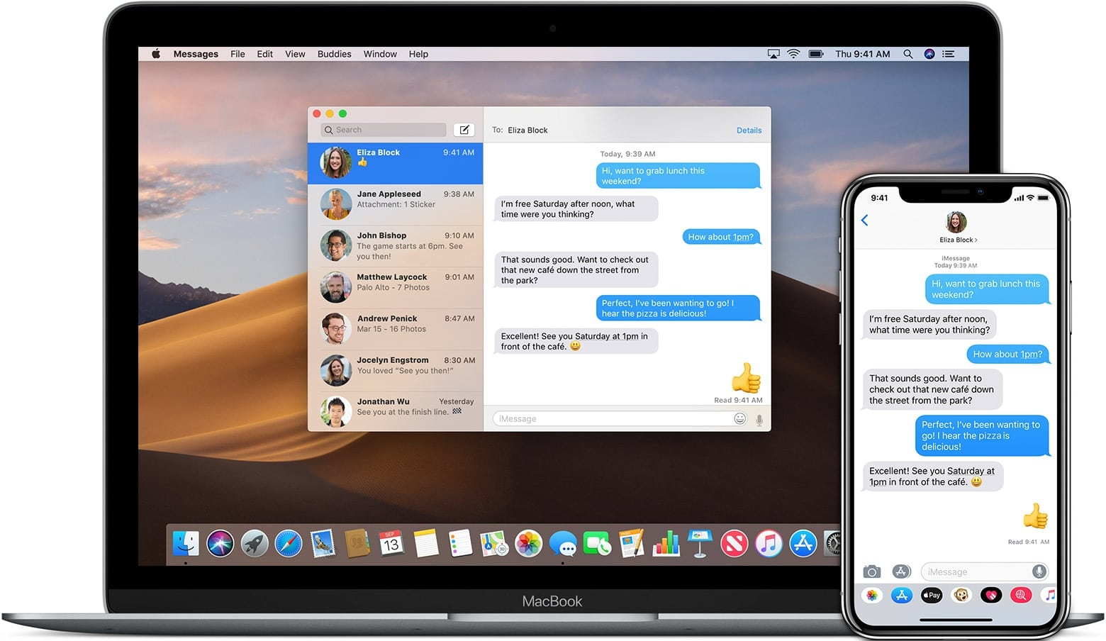 iMessage rodando no Mac e no iPhone