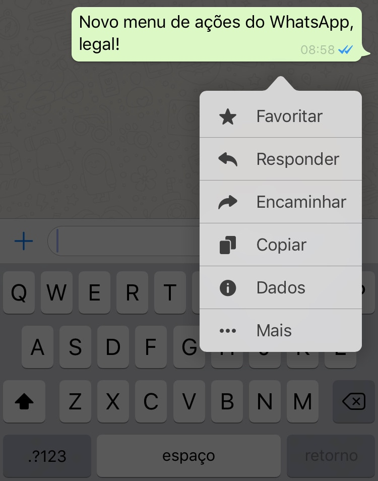 Menu de ações do WhatsApp