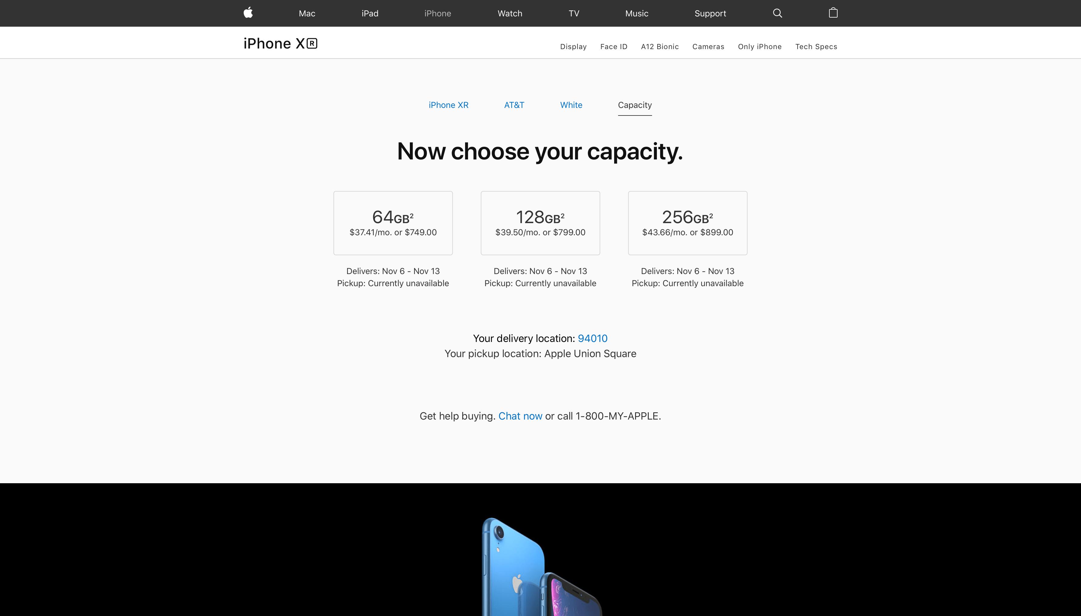 Tempo de entrega do iPhone XR branco na Apple Online Store americana