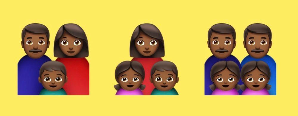 Emojis de famílias negras