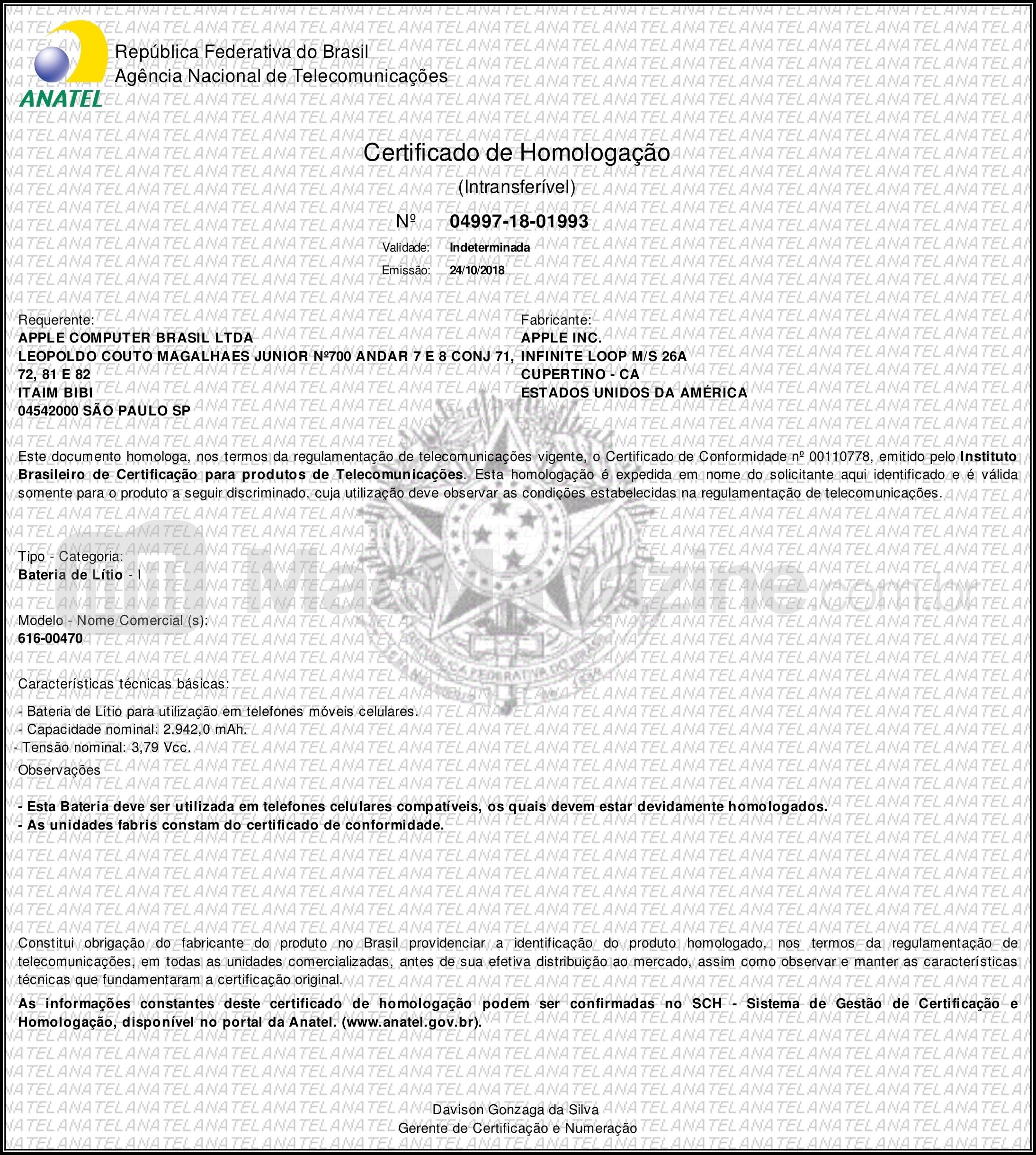 Certificado de homologação de uma das baterias do iPhone XR