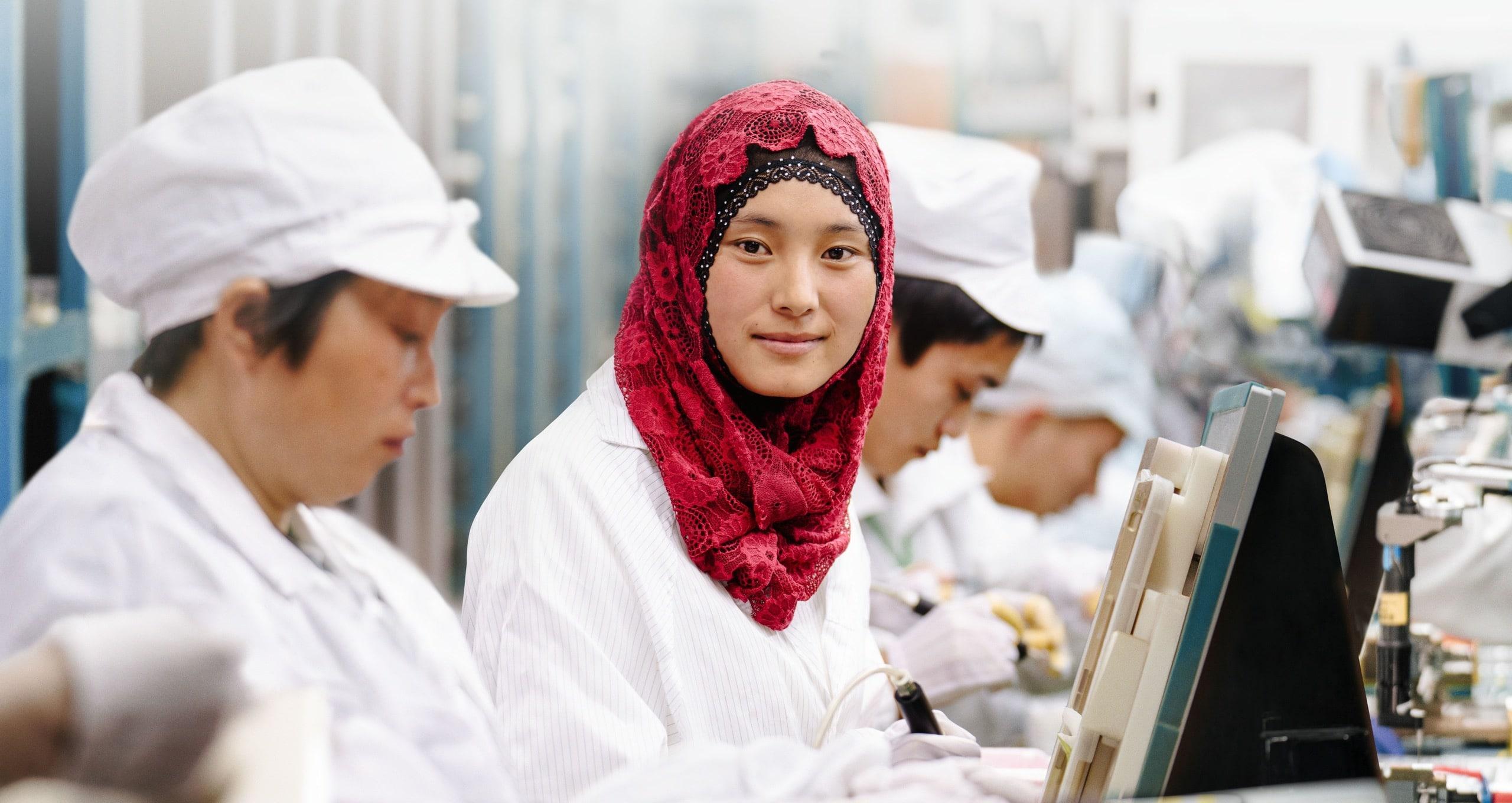 Linha de produção de parceira da Apple na China