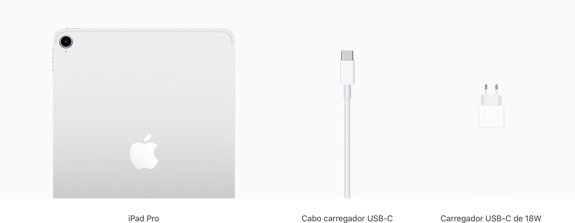 O que vem na caixa dos novos iPads Pro (carregador de 18W)