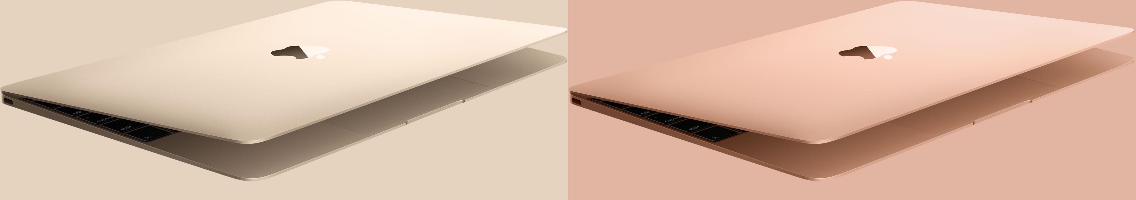 MacBook dourado (antigo vs. novo)
