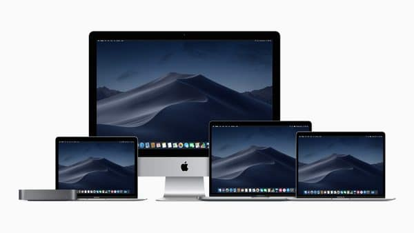 Família atual de Macs (Mac mini, MacBook Air, iMac, MacBook Pro e MacBook)