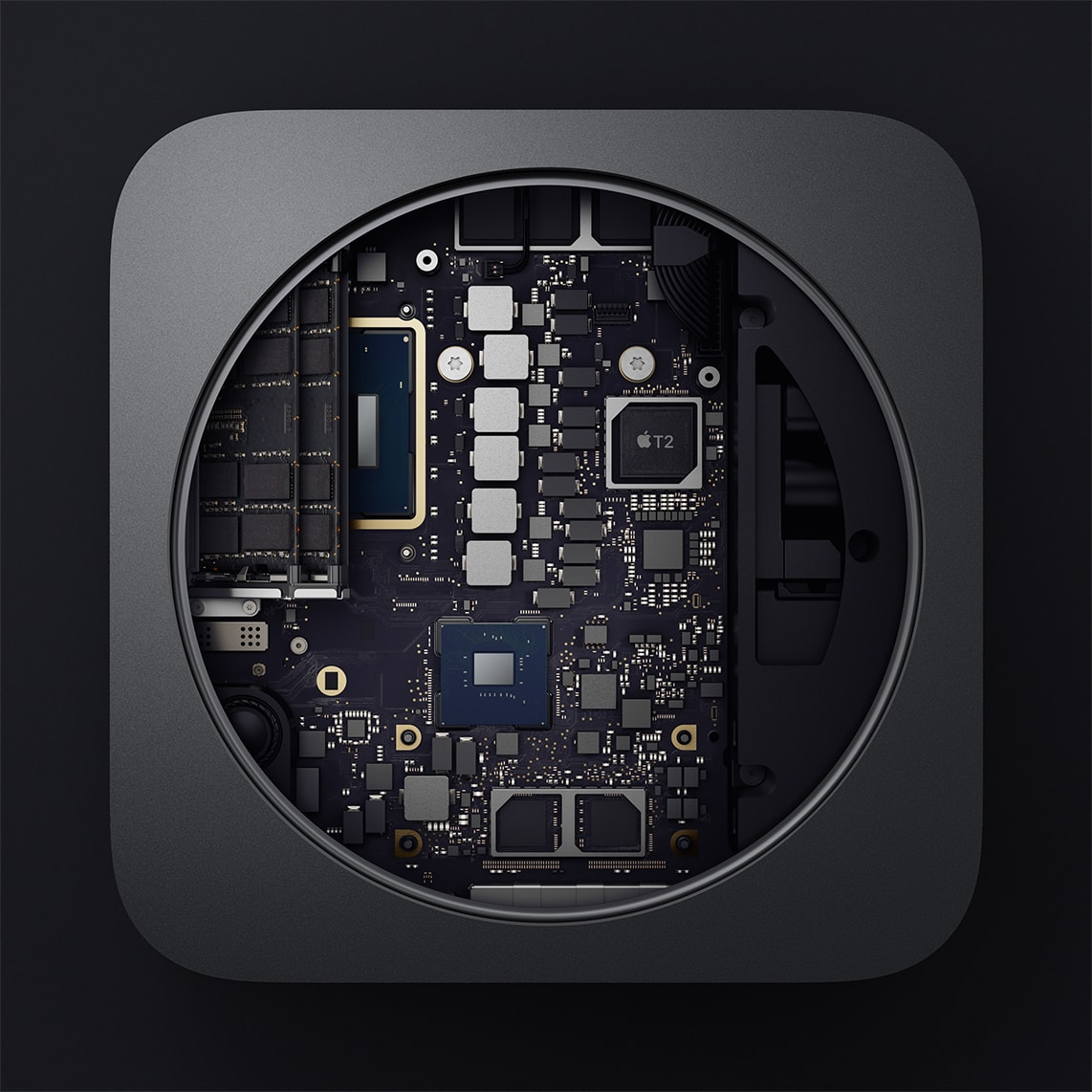 Interior do novo Mac mini (componentes e peças)