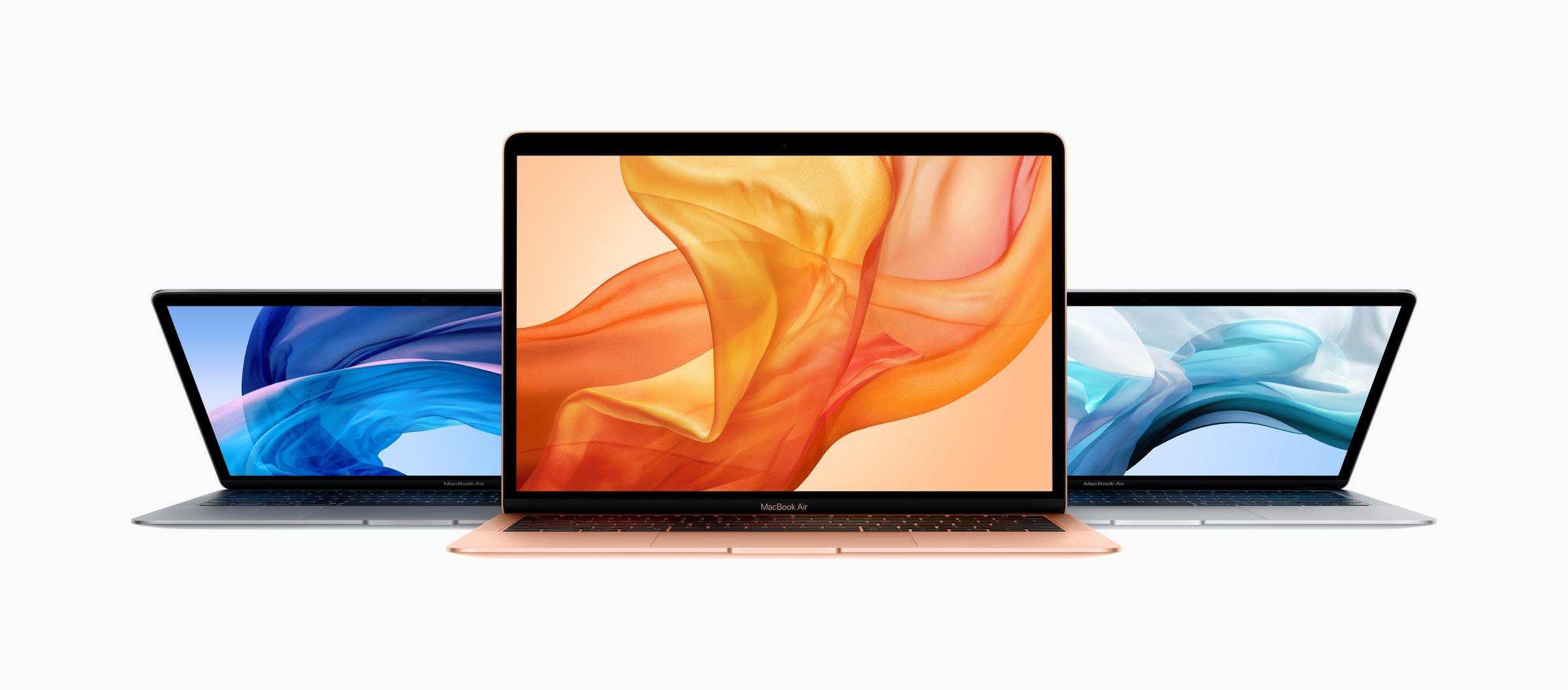 Família do novo MacBook Air com as três cores