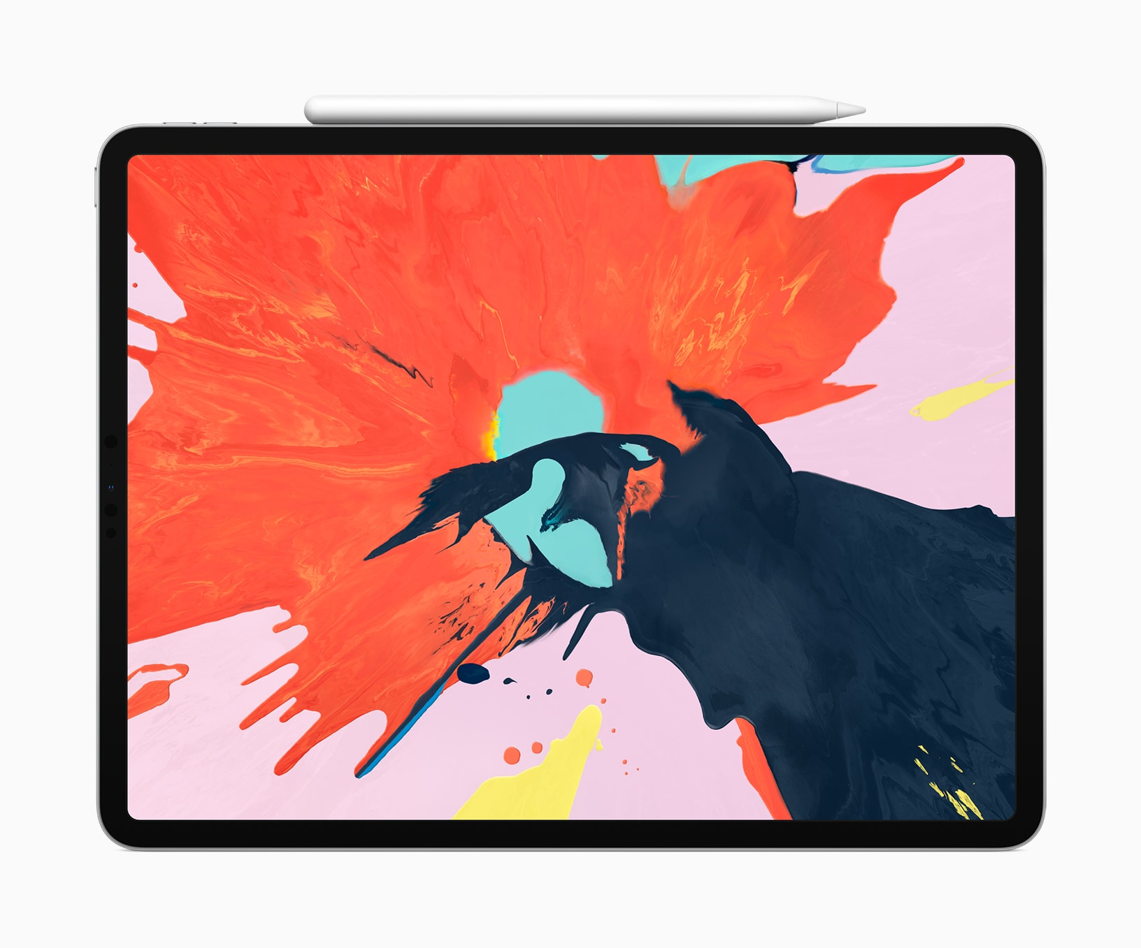 iPad Pro deitado com o Apple Pencil anexado magneticamente a ele