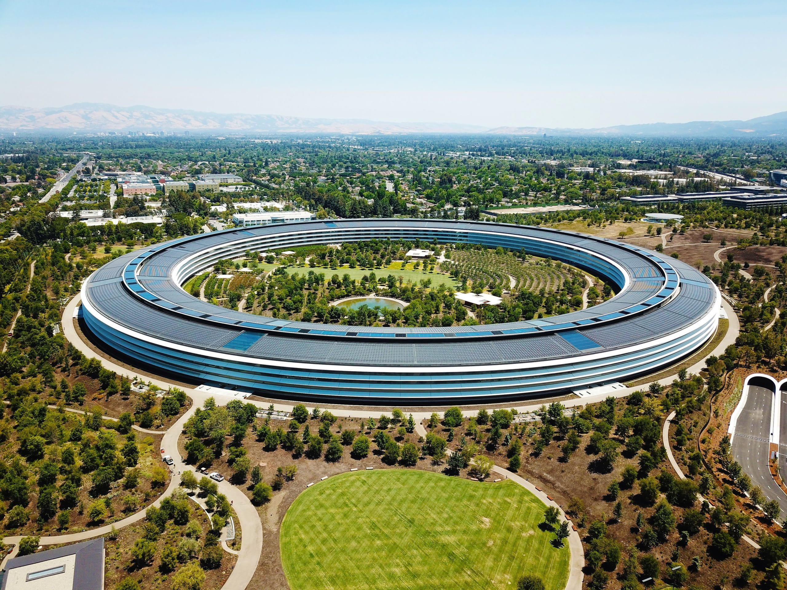 Foto aérea do Apple Park