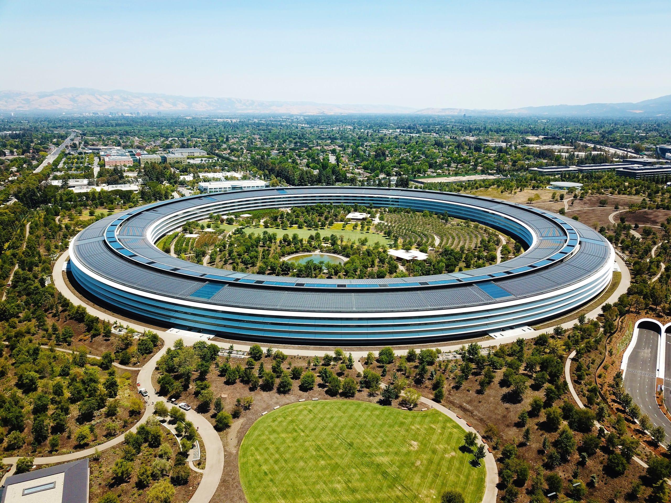Foto aérea do Apple Park