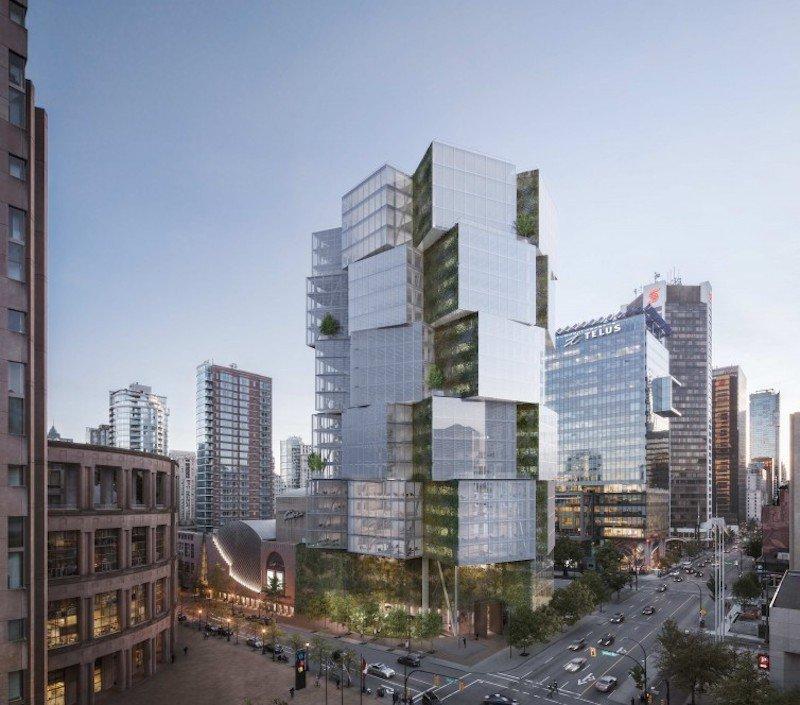 Prédio comercial que a Apple terá escritório, em Vancouver