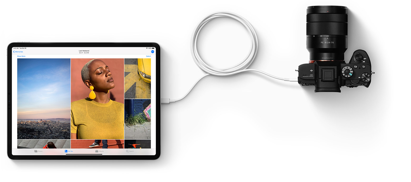 iPad Pro recarregando câmera