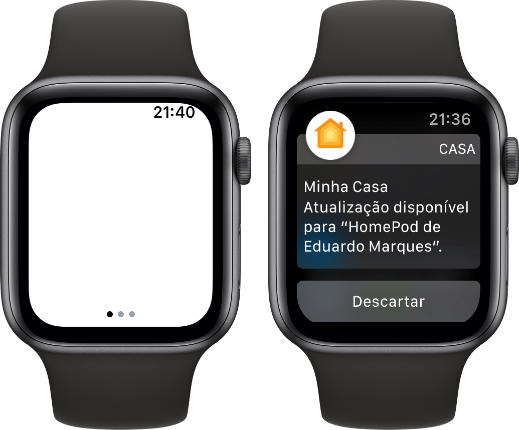Tela com cantos arredondados do Apple Watch Series 4