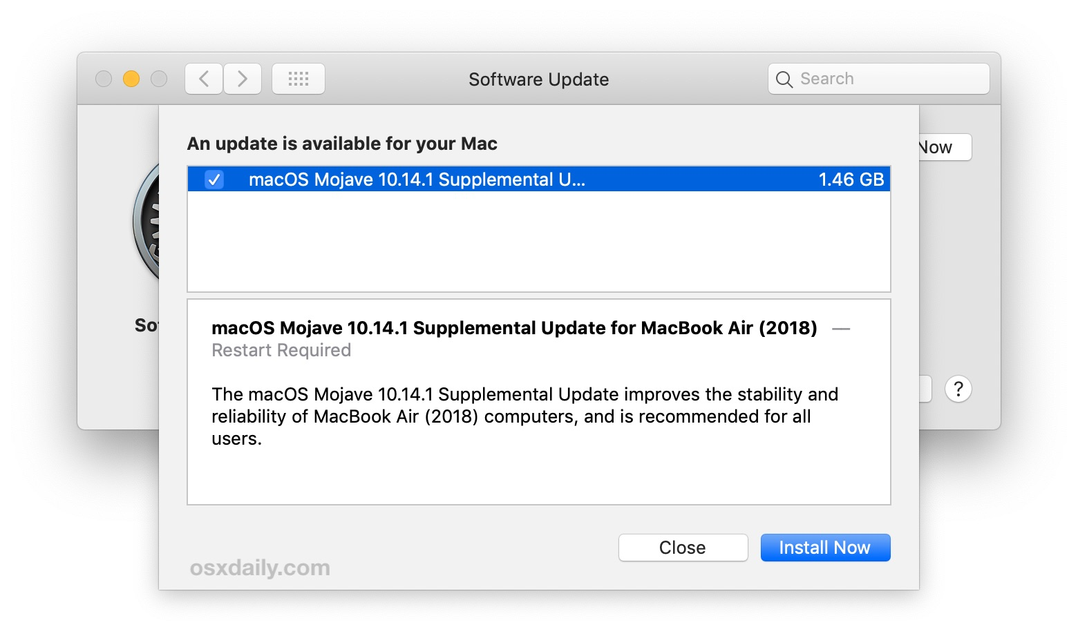 macOS Mojave 10.14.1 Supplemental Update for MacBook Air (2018)