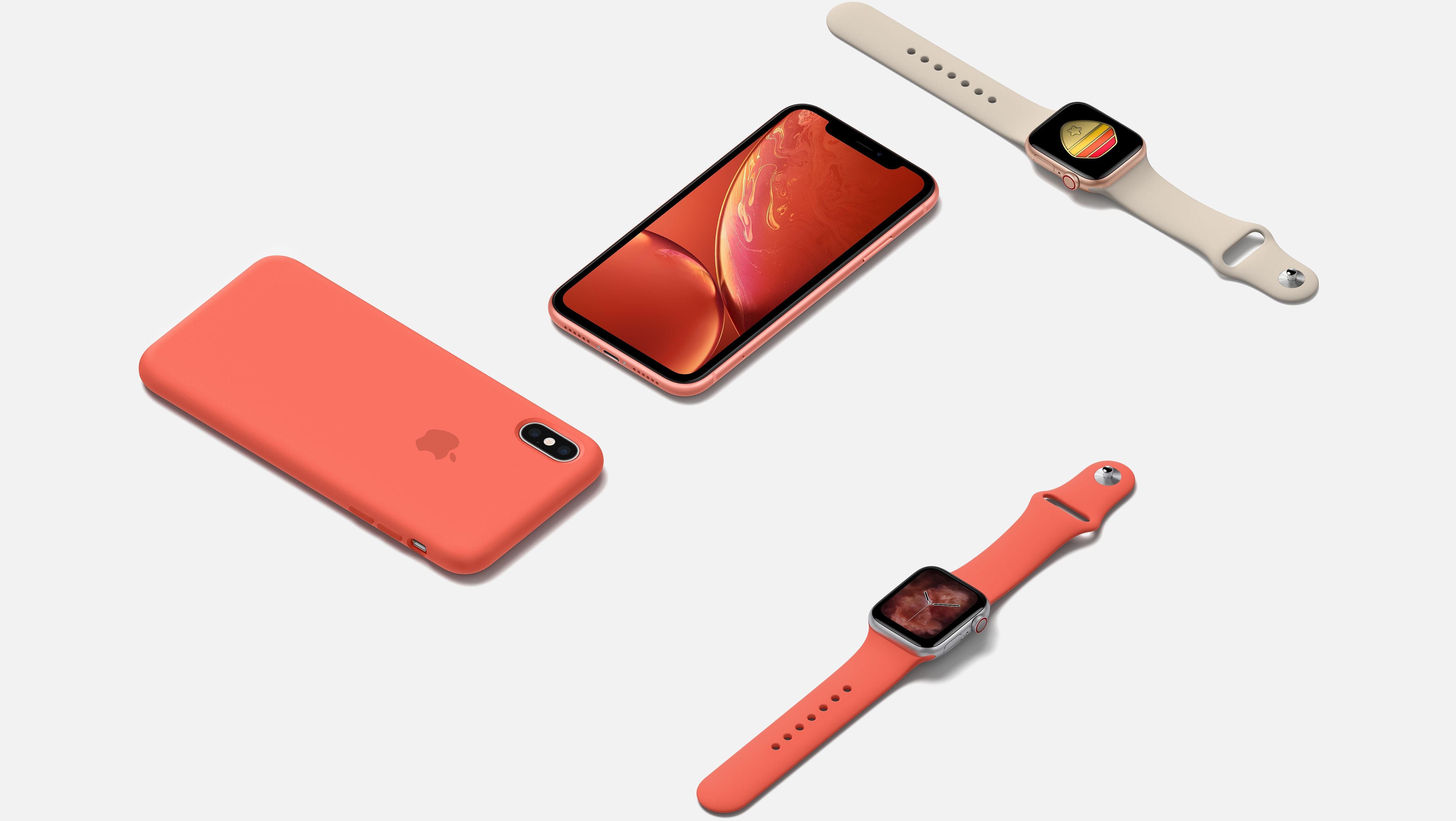 Produtos diversos da Apple em ângulo - iPhone XR rosa, iPhone XS com capa rosa e Apple Watch Series 4