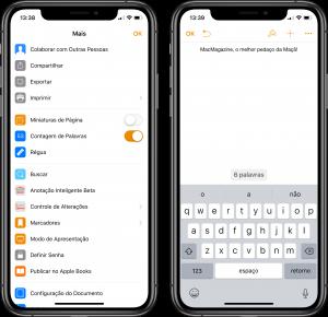 Contador de palavras do Pages do iPhone