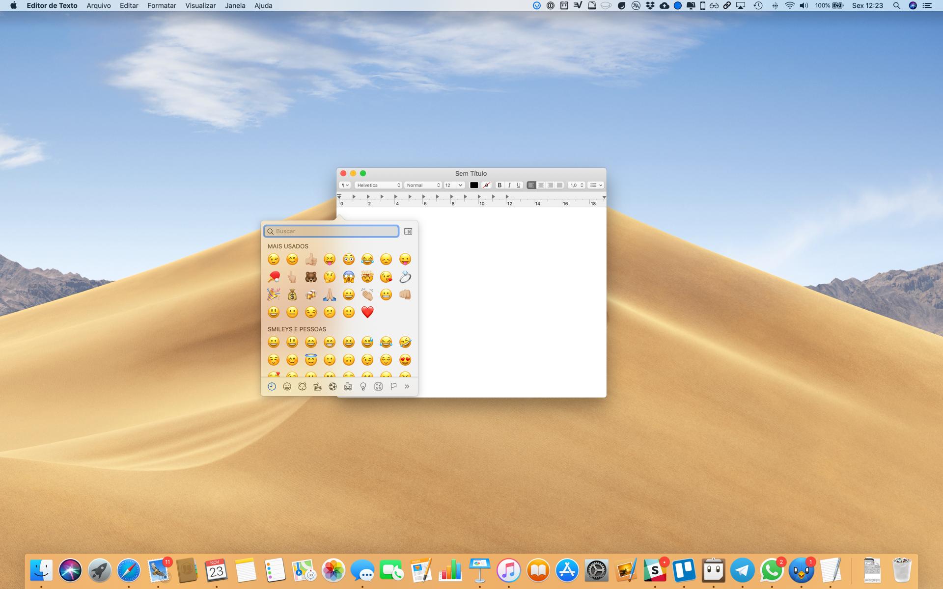 Usando emojis no Mac