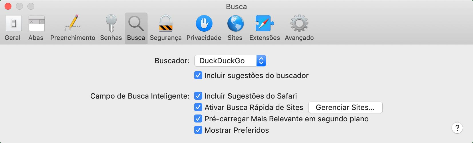 Alterando o buscador padrão do Safari