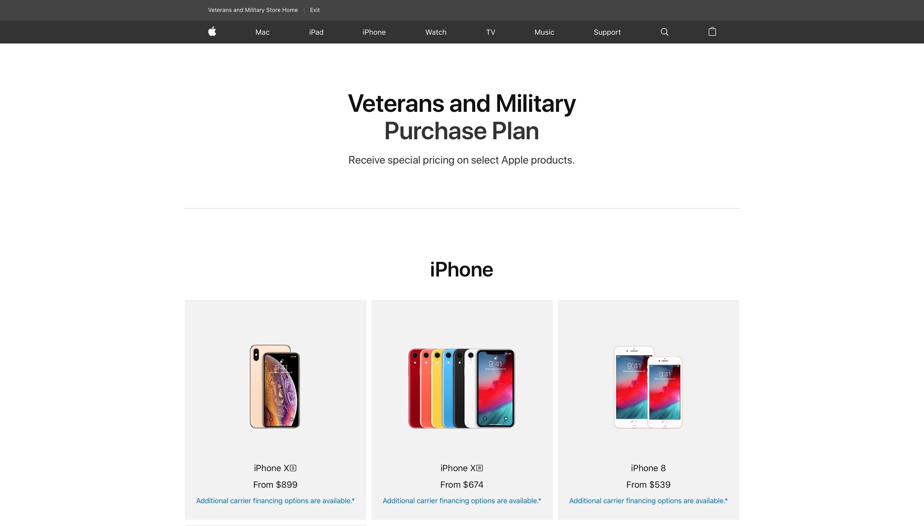 Loja online da Apple com desconto para militares e veteranos dos EUA