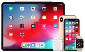 Vários produtos Apple - iPad Pro de 11 polegadas com Apple Pencil, AirPods, iPhone XS Max e iPhone XS, e Apple Watch Series 4