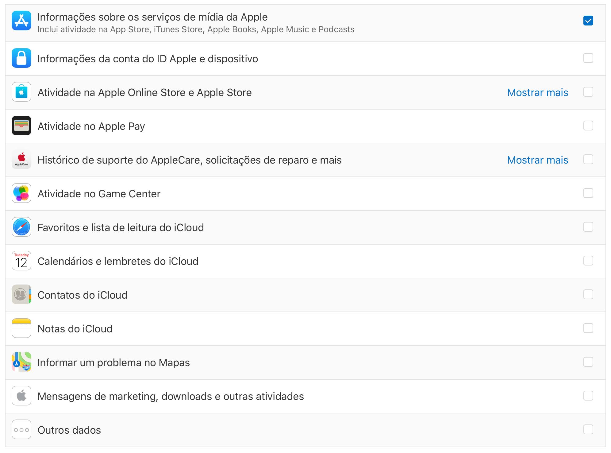 Selecionar dados de privacidade do ID Apple