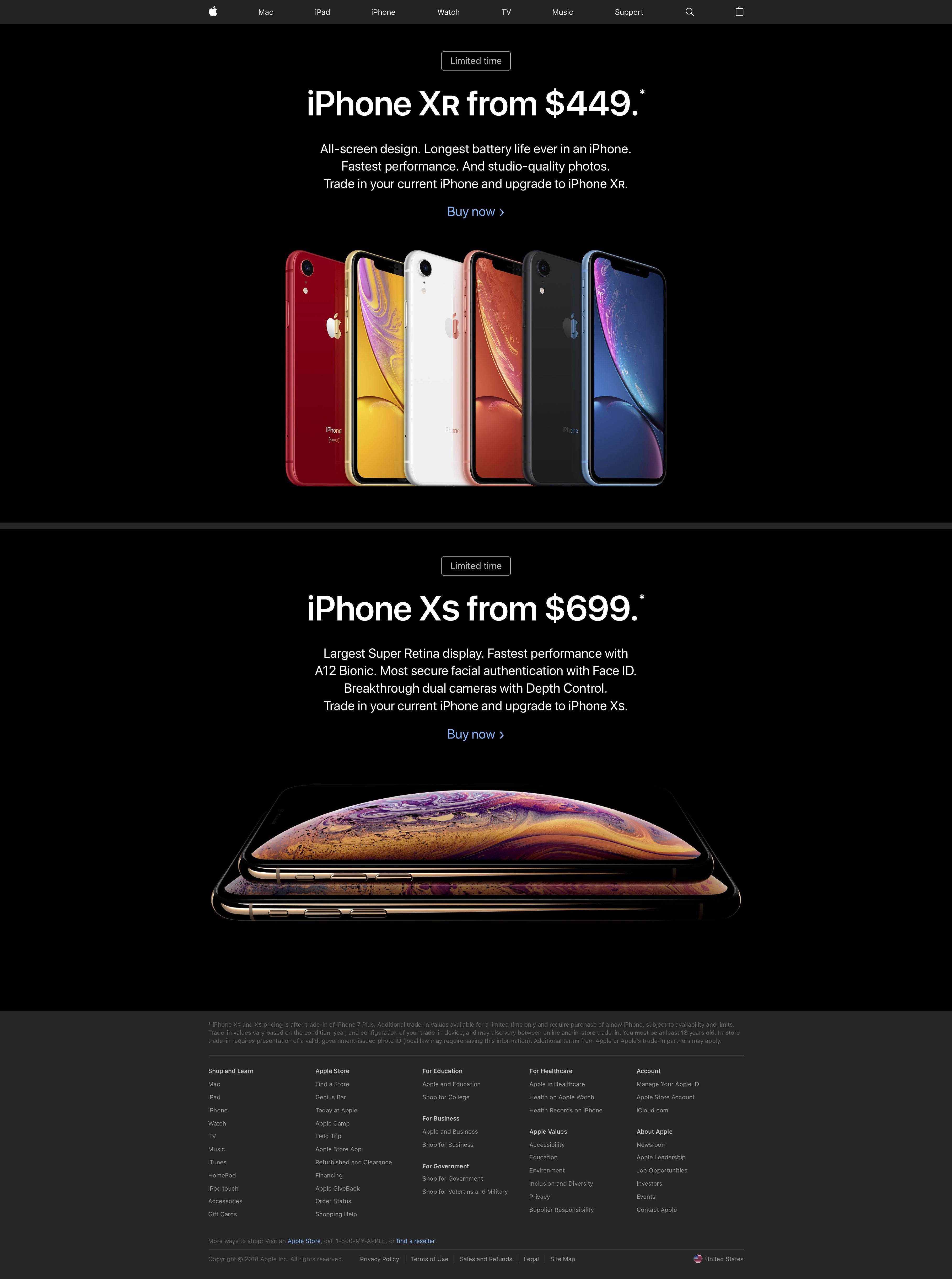 Página inicial da Apple com divulgação pesada dos novos iPhones