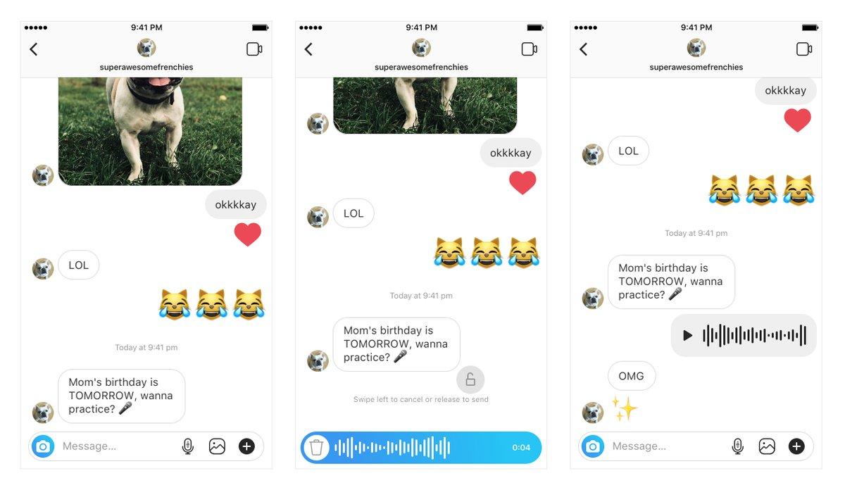 Mensagens de voz no Direct do Instagram