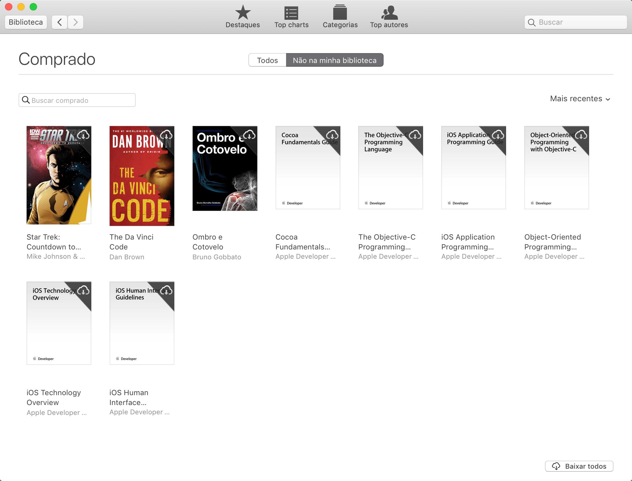 Baixando um livro comprado na iBooks Store