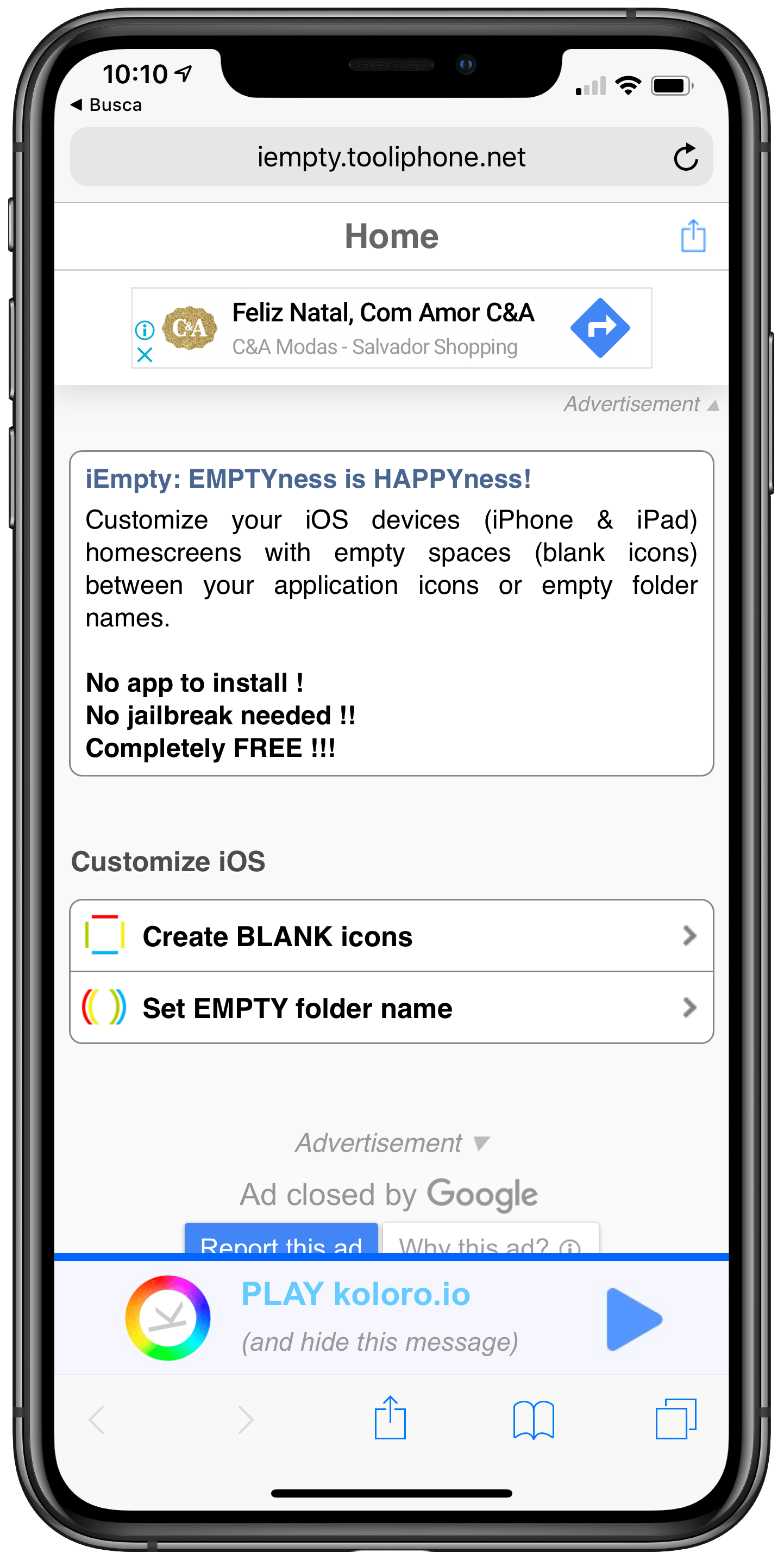 iEmpty on iPhone XS Max