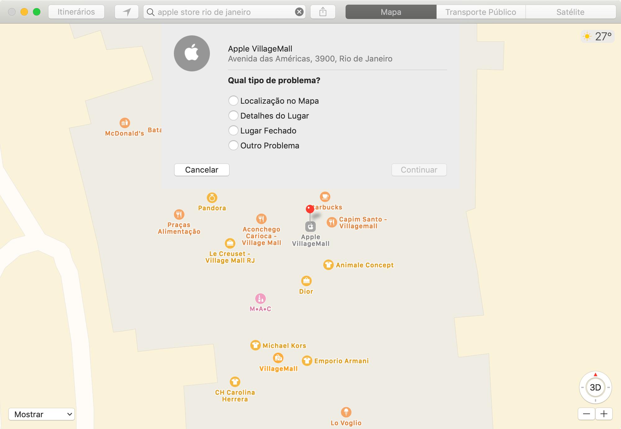 Mapas - Comunicar Problema no macOS