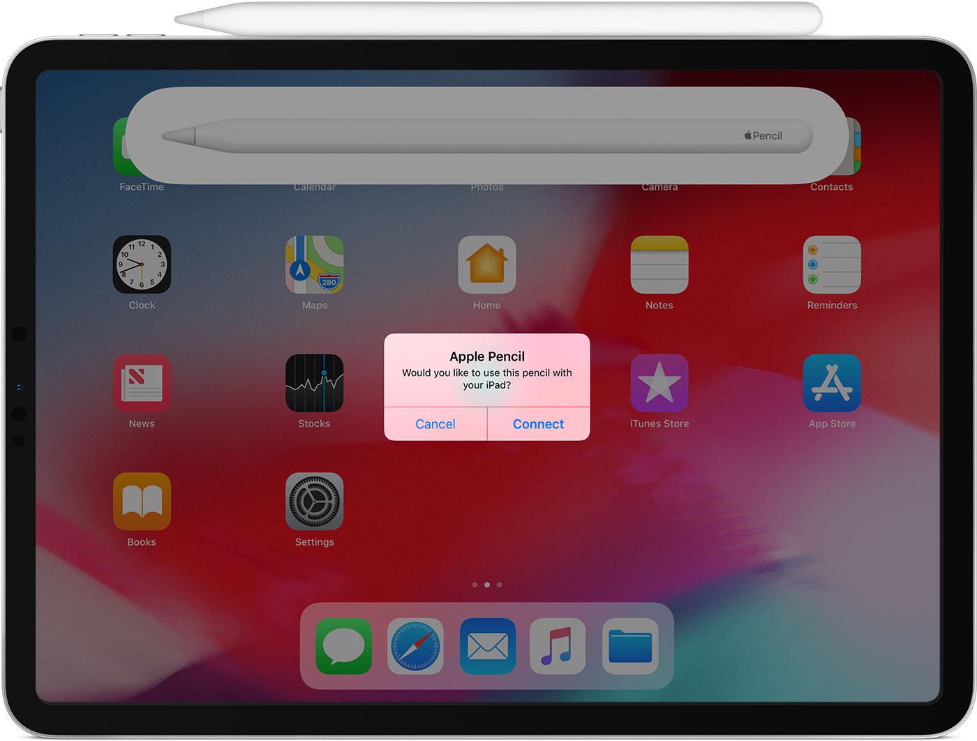 Apple Pencil de segunda geração conectado no iPad Pro