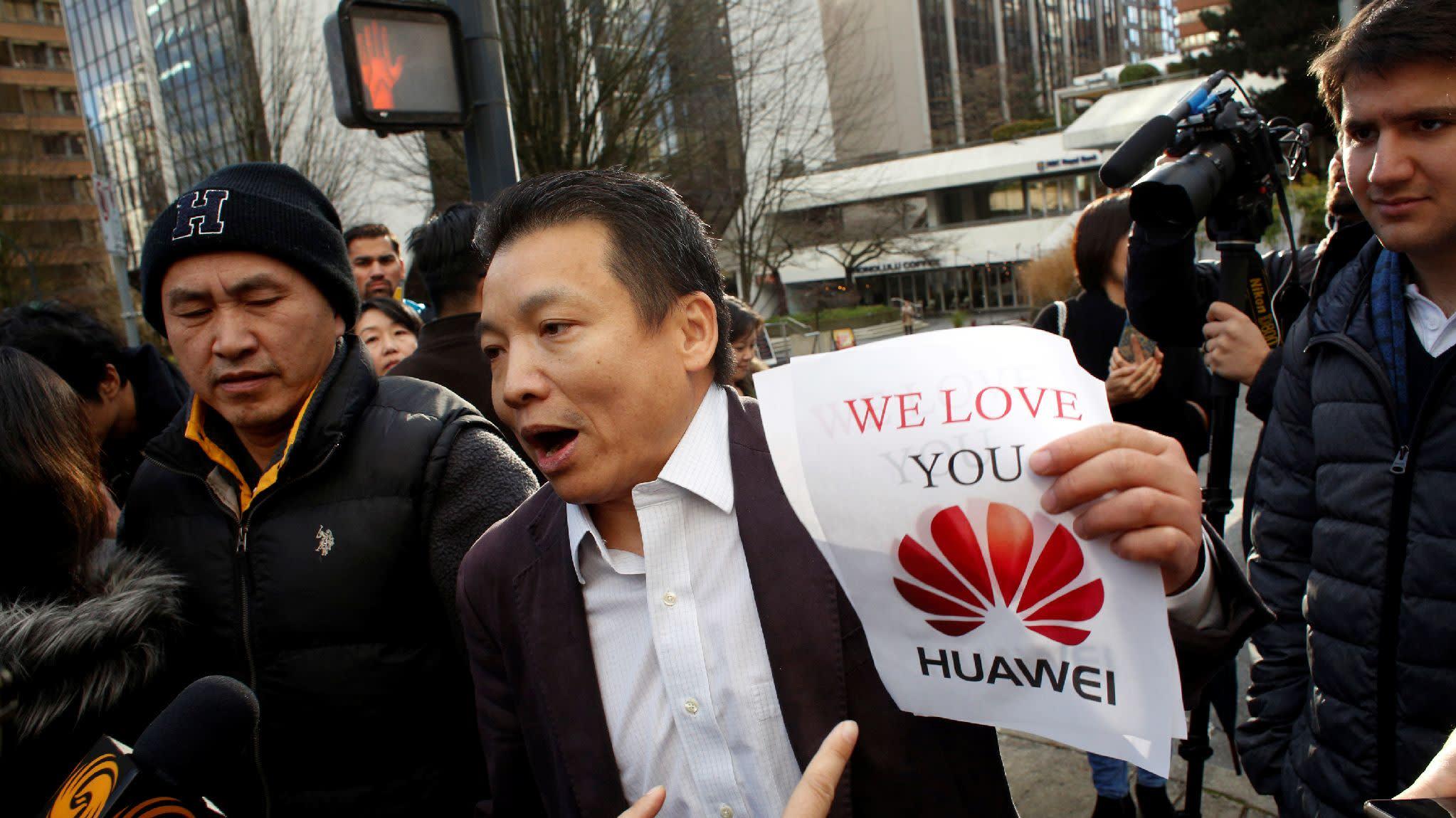 Manifestação em prol da Huawei no Canadá