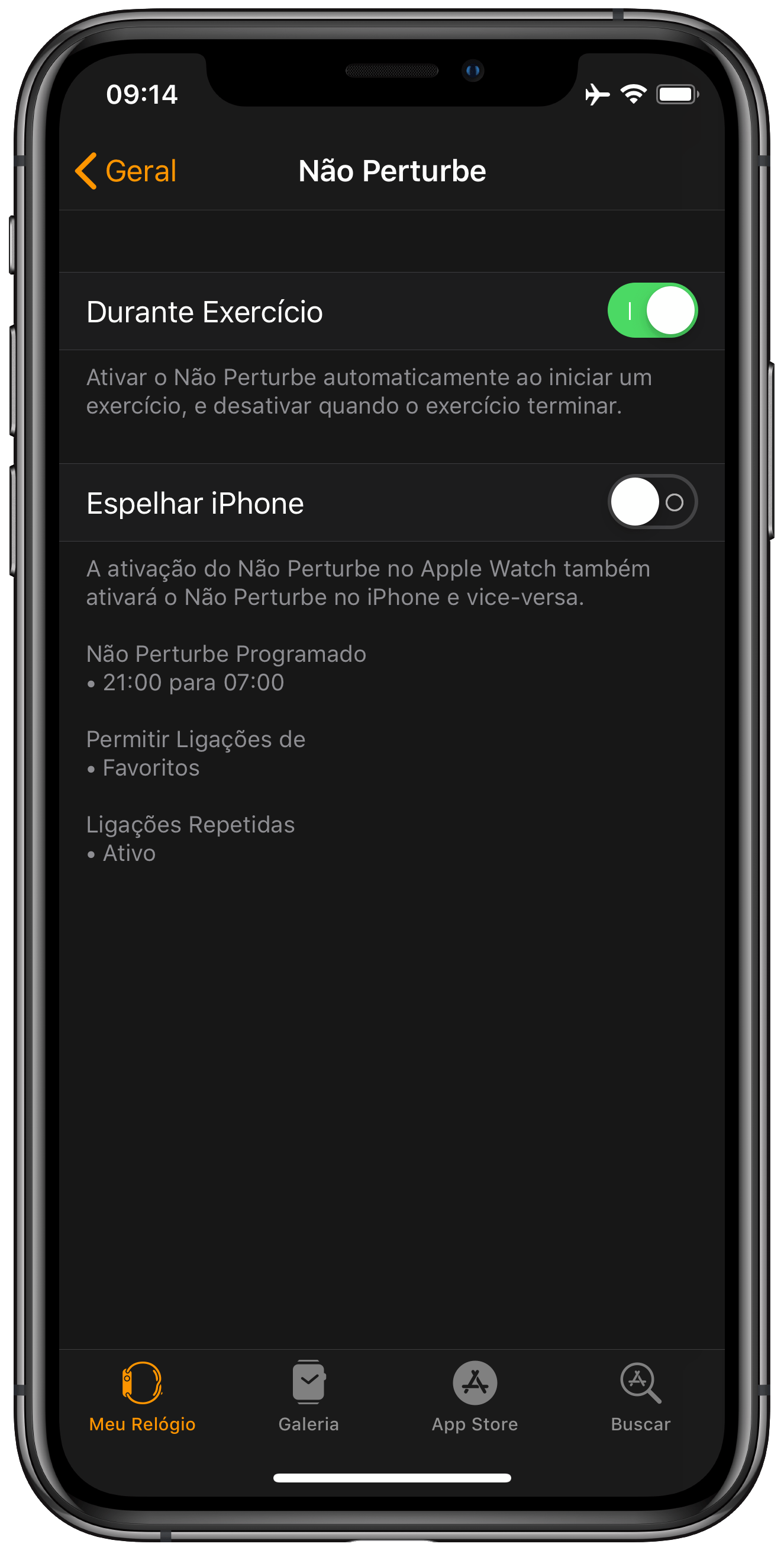 Apple Watch Don't Disturb Settings
