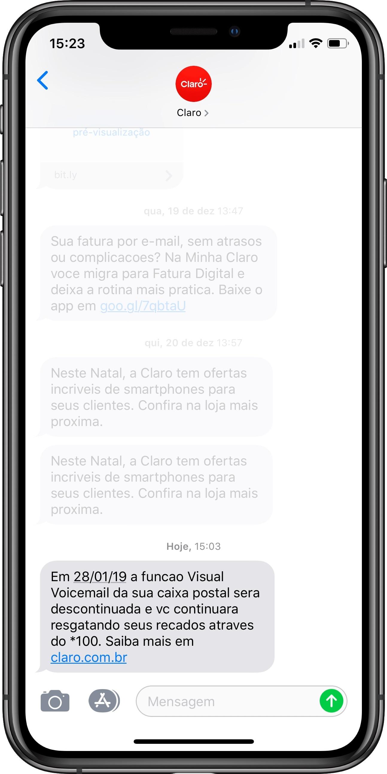 Mensagem da Claro sobre o fim do Visual Voicemail