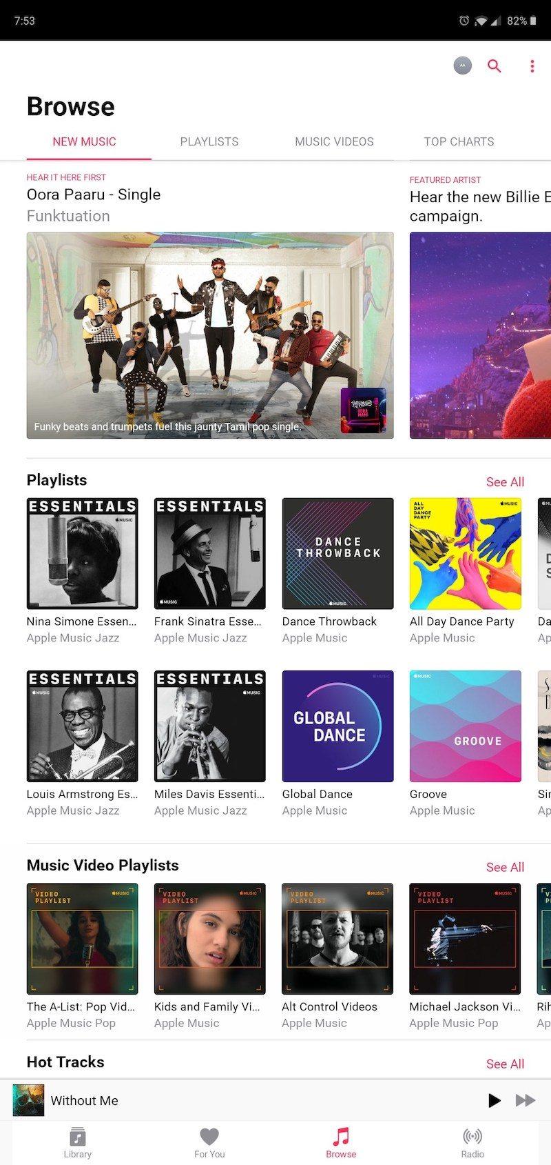 Apple Music adaptado para tablet Android