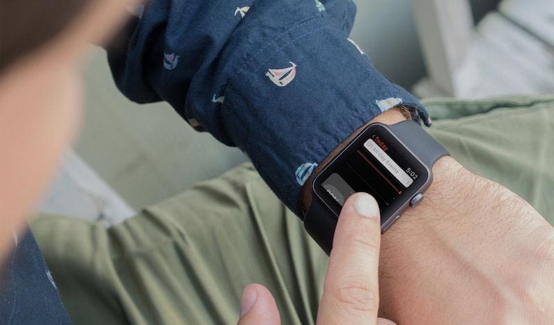 Puxando a Central de Controle no Apple Watch