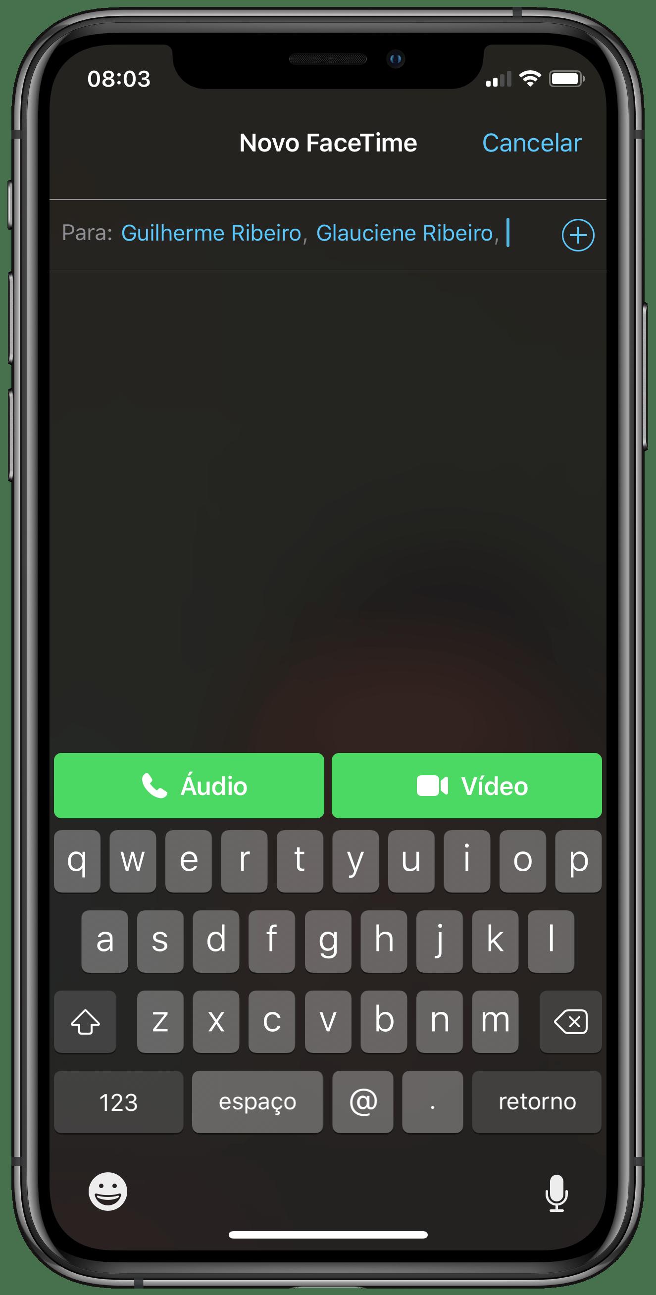 Iniciar chamada em grupo no FaceTime