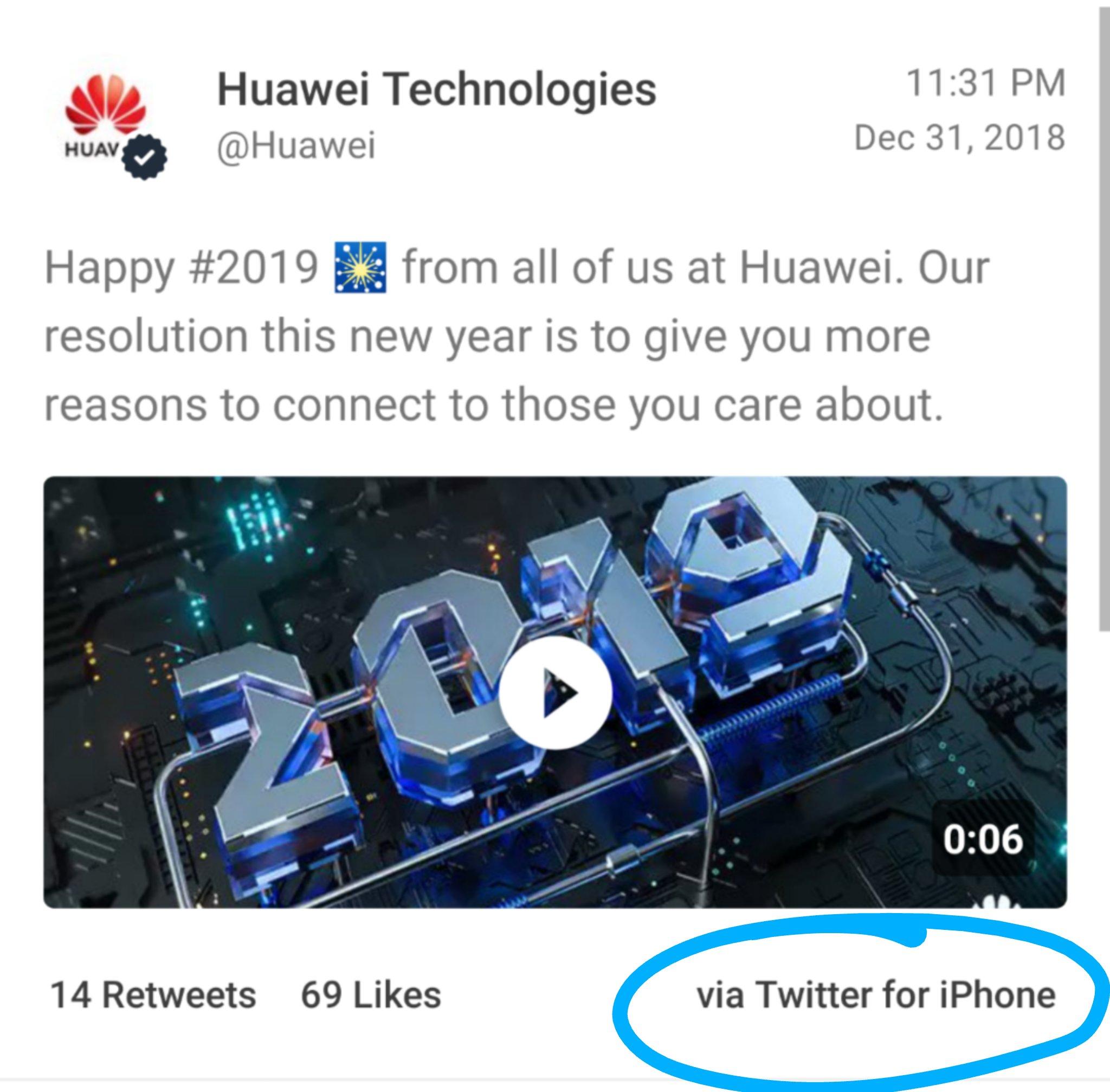 Tweet da Huawei via iPhone