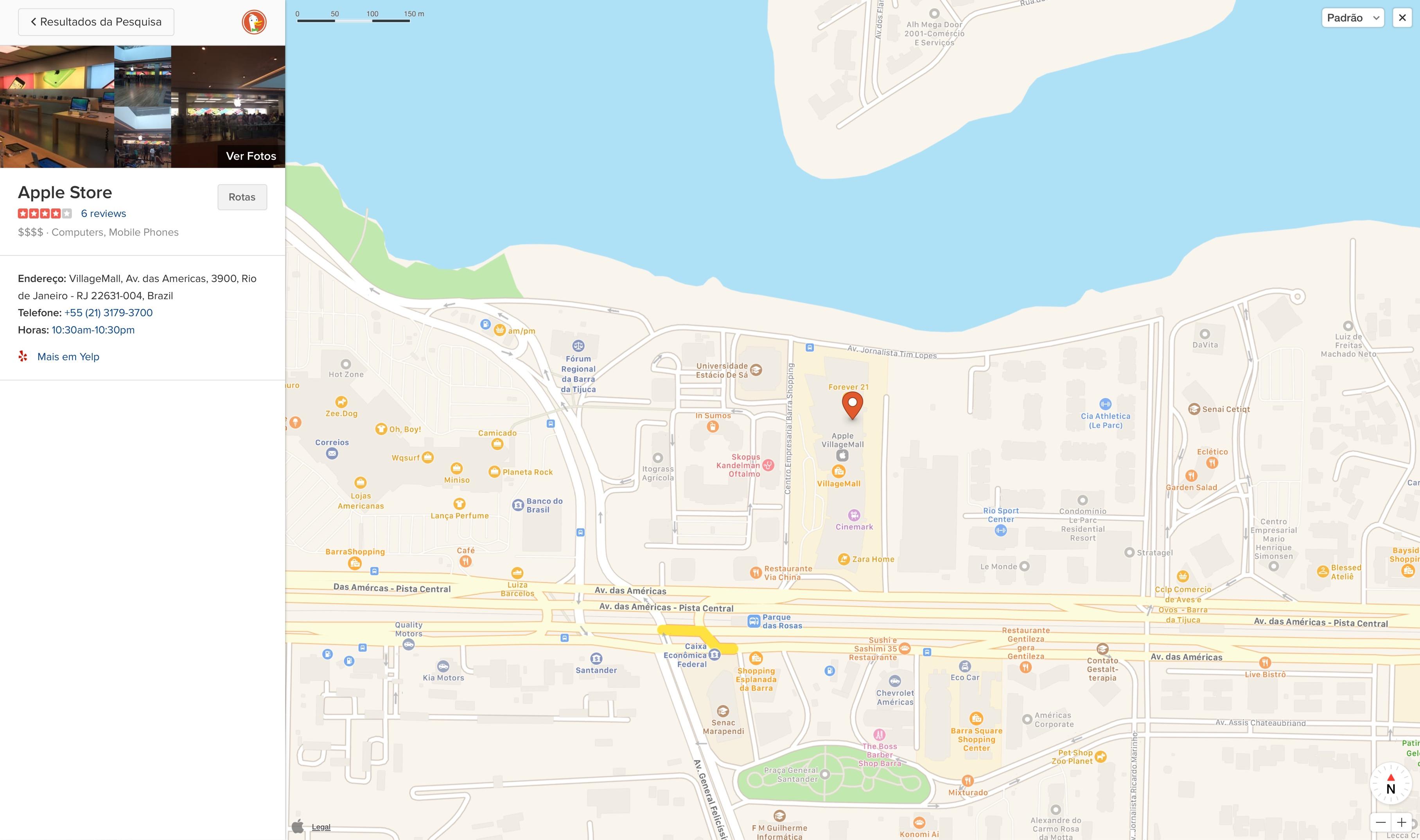 Apple Mapas no DuckDuckGo