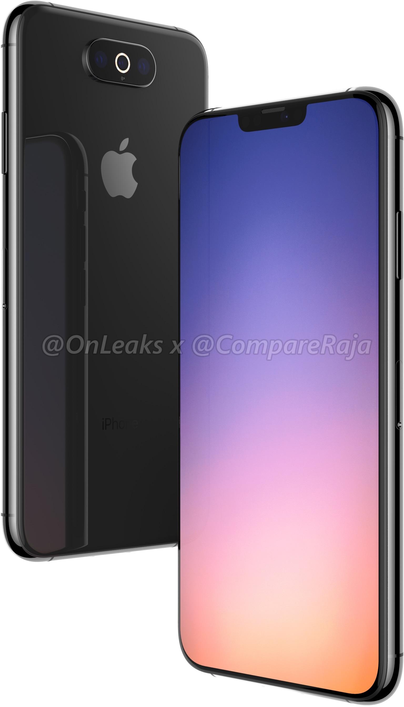 Render de um possível sucessor do iPhone XS Max com três câmeras traseiras