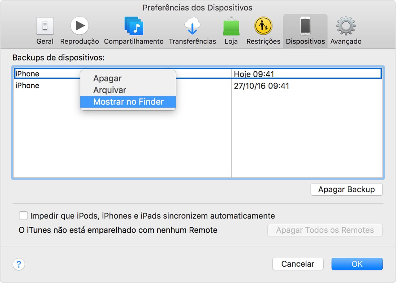 Backups do iOS no iTunes