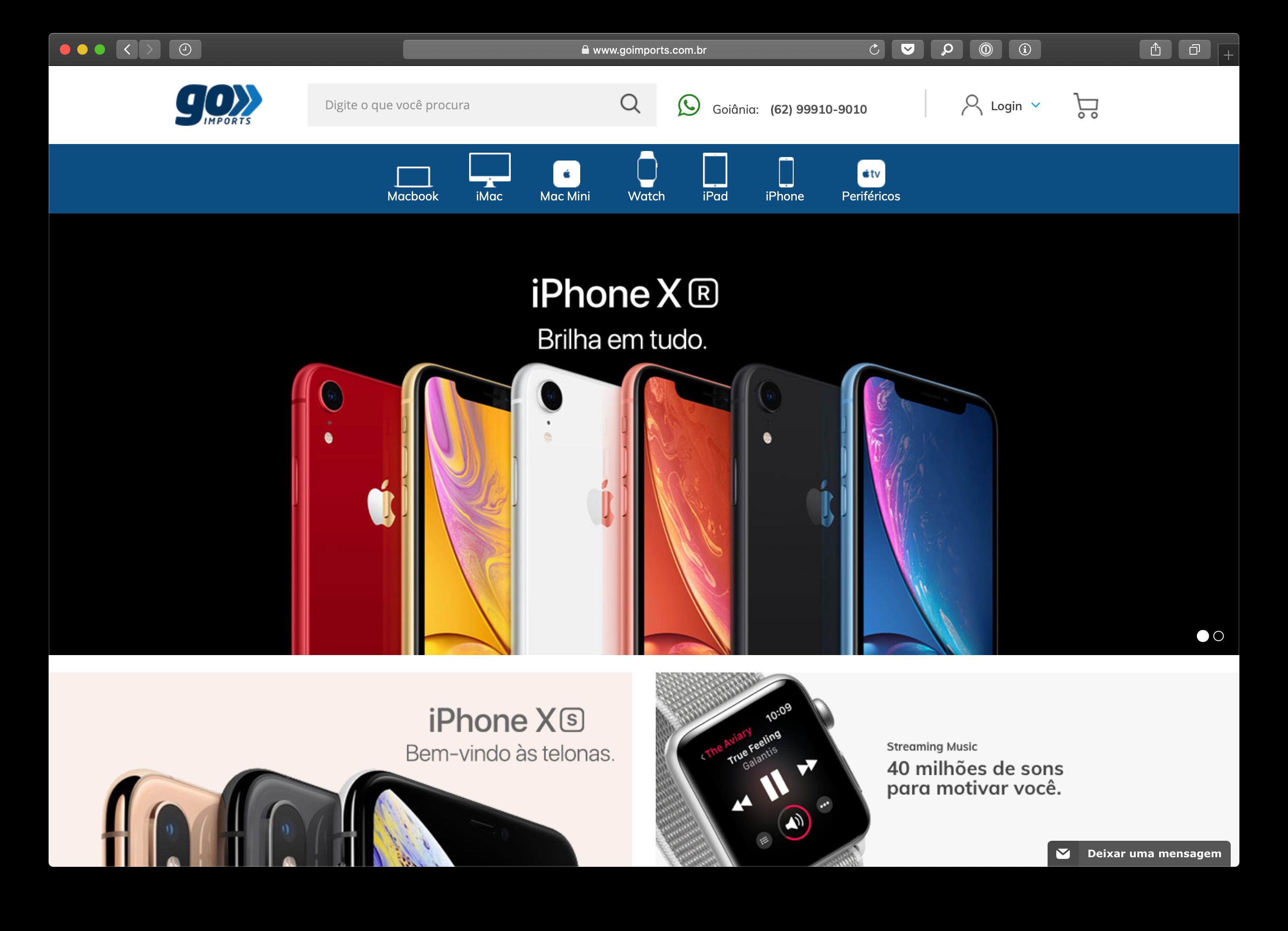 Screenshot do site da Go Imports